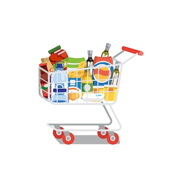 Carrello di acquisto in pieno di vettore piano isolato alimento