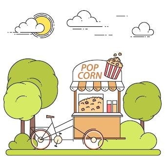 Carrello di mais pop su ruote - chiosco snack dolce nel parco pubblico in arte linea piatta.