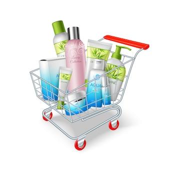 Carrello di prodotti cosmetici