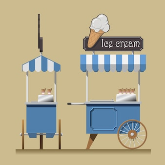 Carrello per gelato retrò.
