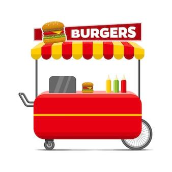 Carrello per hamburger street food.
