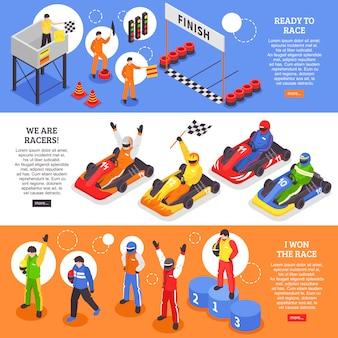 Carrello racers set di banner orizzontale