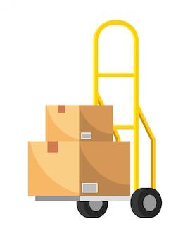 Carretto a mano con illustrazione della scatola