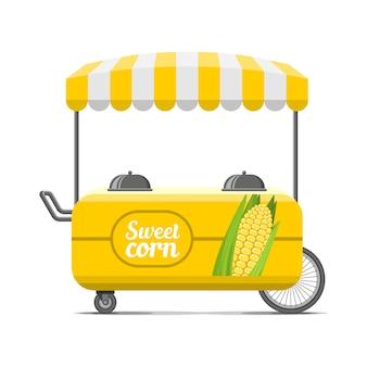 Carretto di cibo di strada di mais dolce.