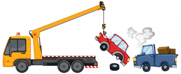 Carro attrezzi che solleva auto danneggiate