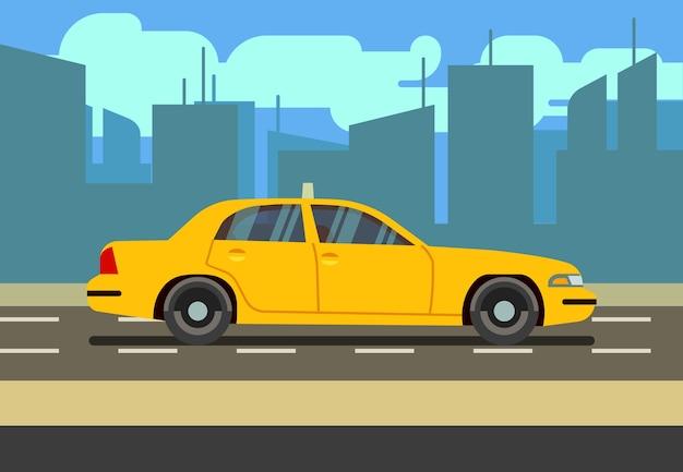 Carrozza di taxi gialla dell'automobile nell'illustrazione di vettore di paesaggio urbano