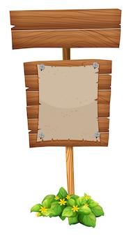Carta bianca sul cartello in legno