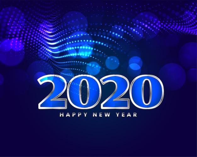 Carta blu brillante di progettazione di saluto del buon anno