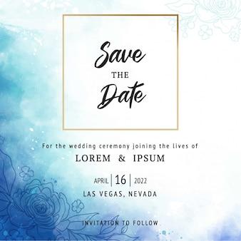 Carta blu dell'invito di nozze dell'acquerello copertura con la decorazione floreale