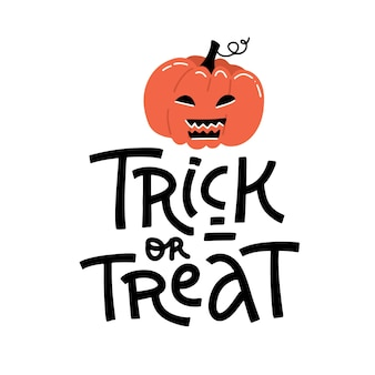 Carta brillante di halloween. simpatico sfondo dolcetto o scherzetto in stile cartone animato con zucca spaventosa. citazione di lettering hand drawan.