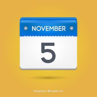 Carta calendario cinque novembre