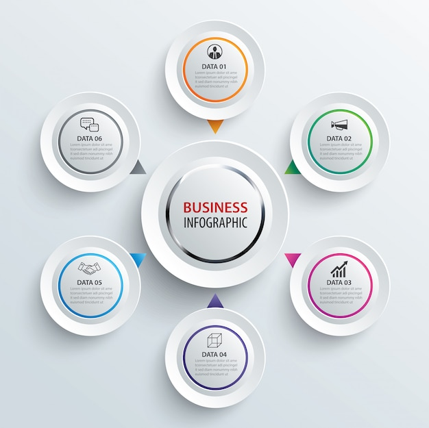 Carta cerchio infografica con 6 modelli di dati.