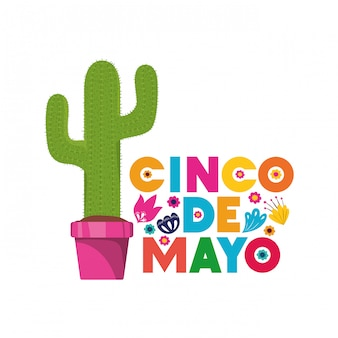 Carta cinco de mayo con carta di cactus