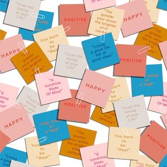 Carta colorata con espressione positiva e citazioni modello senza cuciture moderno
