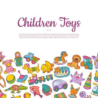 Carta colorata disegnata a mano dei bambini o dei giocattoli con il posto per testo