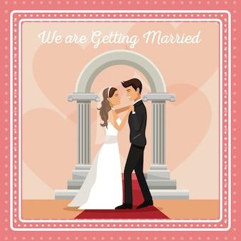 Carta colorata gretting con coppia sposo e sposa ballando