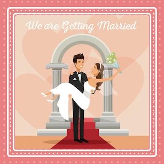Carta colorata gretting con lo sposo coppia che porta alla sposa
