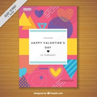 Carta colorata per san valentino in stile anni '80