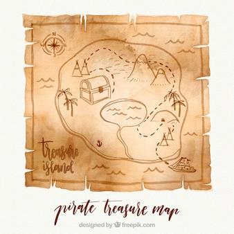 Carta con la mappa del tesoro di pirati di acquerello