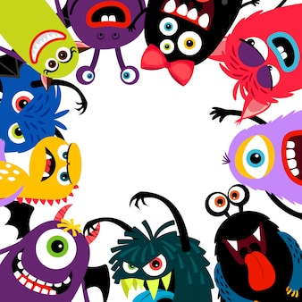 Carta cornice di mostri colorati