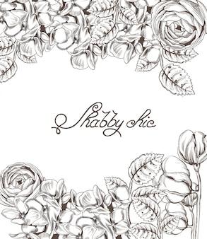 Carta d'epoca con fiori lineart