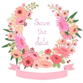 Carta d'epoca con ghirlanda di fiori. salva la data