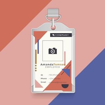 Carta d'identità aziendale con forme geometriche
