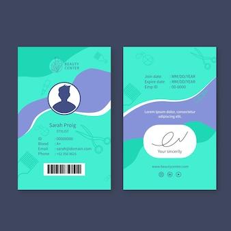 Carta d'identità del salone di bellezza
