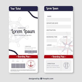Carta d'imbarco piatta con elementi nautici