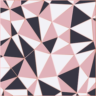 Carta da parati a mosaico in oro rosa e nero