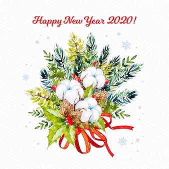 Carta da parati acquerello nuovo anno 2020