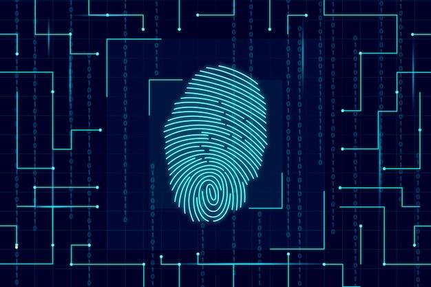 Carta da parati al neon dell'impronta digitale