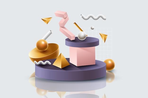 Carta da parati astratta di forme 3d