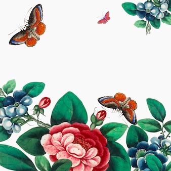 Carta da parati cinese con fiori e farfalle