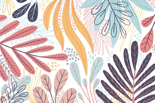 Carta da parati colorata con foglie diverse
