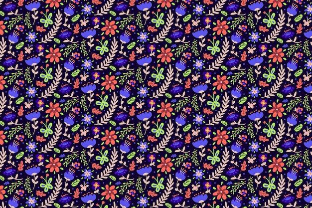 Carta da parati colorata fiori ditsy