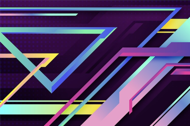 Carta da parati colorata gradiente forme geometriche
