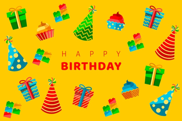 Carta da parati compleanno design piatto
