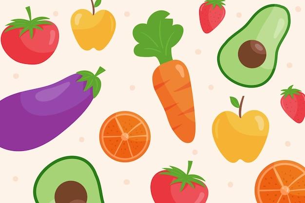 Carta da parati con il concetto di frutta e verdura
