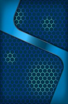Carta da parati corporativa del fondo di concetto dell'innovazione blu astratta esagonale metallica