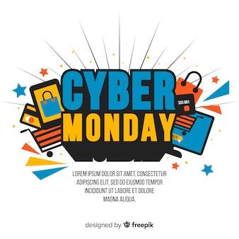 Carta da parati cyber lunedì design piatto