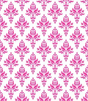 Carta da parati dallo stile classico del barocco, motivo damascato rosa e bianco senza cuciture