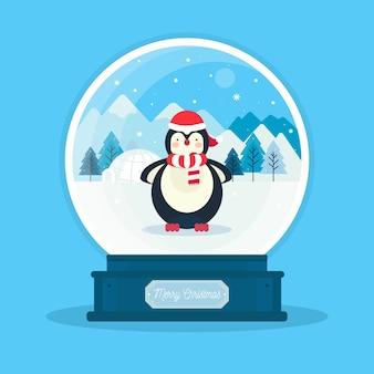 Carta da parati del globo della palla di neve di natale di progettazione piana