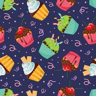 Carta da parati del muffin del bigné del modello dello spuntino senza cuciture dolce