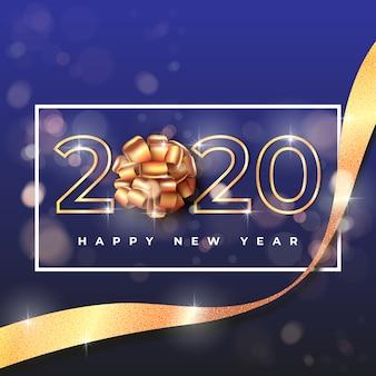 Carta da parati del nuovo anno 2020 con fiocco regalo dorato