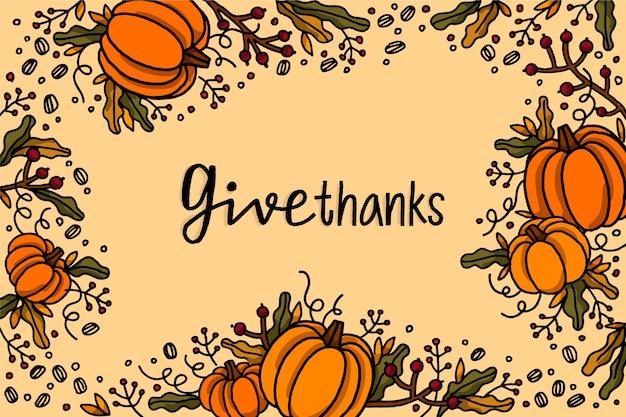 Carta da parati del ringraziamento disegnata a mano