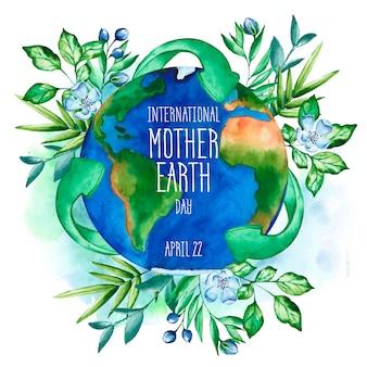 Carta da parati dell'acquerello giorno della madre terra