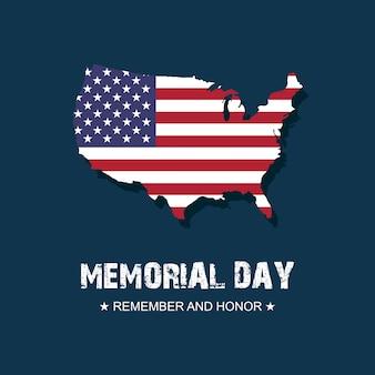 Carta da parati dell'insegna della carta di usa di memorial day. ricorda e onora con la bandiera degli stati uniti. illustrazione.