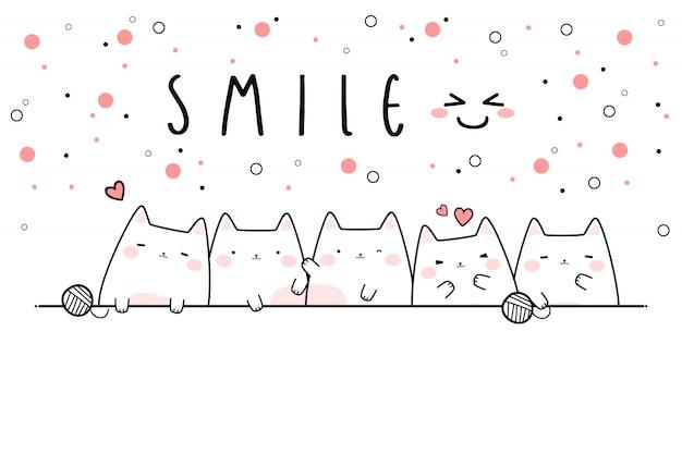 Carta da parati dell'insegna di scarabocchio del fumetto di sorriso del gattino sveglio
