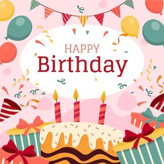 Carta da parati di compleanno con palloncini e torta